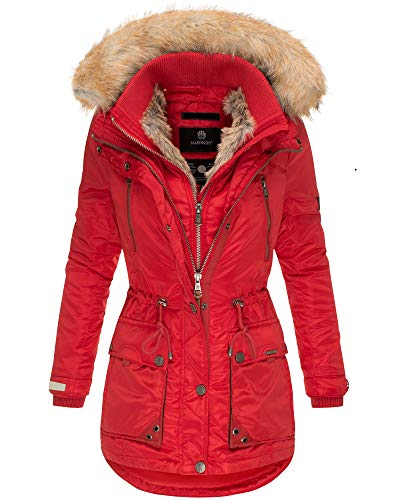 Marikoo Damen Winter Jacke Parka Mantel Kunst-Pelz Kragen Kapuze Warm NEU GRK103 (XS, Rot)