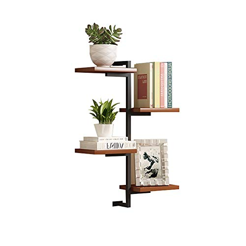 Light Walnut Wall Mount Shelf, wandkleden Iron Art Planken Met Wood, 4-Tiers Bookshelf for de woonkamer 410 (Color : Teak color)