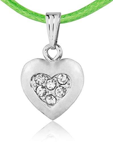 Kinder Trachten Halskette Mona mit Strass Herz - Grün - Zauberhafter Schmuck für Mädchen zu Dirndl und Kleidern