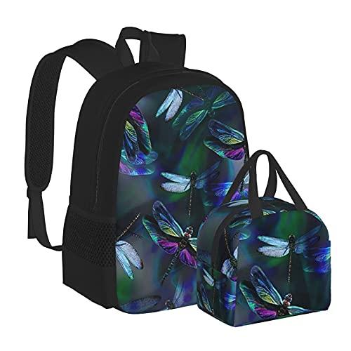 Zaino da scuola Fantasy Print Dragonfly Dream Ali iridescenti per scuola college ragazze bambini Bookbag Set impermeabile computer portatile borsa casual con borsa termica pranzo