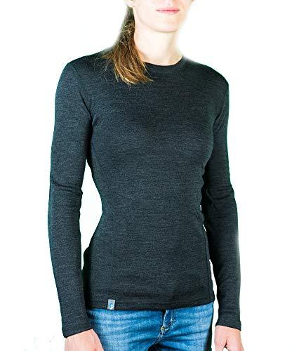 Alpin Loacker Merino Shirt Langarm 230g/m | 100% Merinowolle Sweatshirt Frauen | wärmeregulierendes Langarmshirt für Frauen Sport & Freizeit | Größenwahl (grau, S)