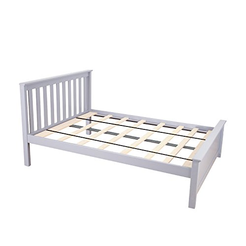 Max & Lily Solid Wood Full-Size Bed, Grey