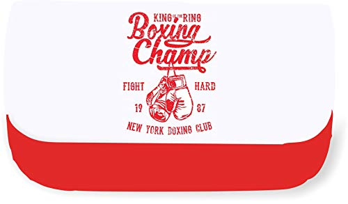 King of The Ring Boxing Champ 1987 Vintage Poster Design [200B] Clutch Style Pencil case - Red