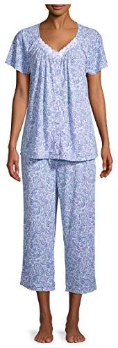 Paisley Print Arctic White & Blue V-Neck Top & Capri Pajama Sleep Set - Small