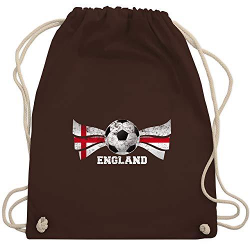 Shirtracer Fußball-Europameisterschaft 2020 - England Fußball Vintage - Unisize - Braun - WM - WM110 - Turnbeutel und Stoffbeutel aus Baumwolle