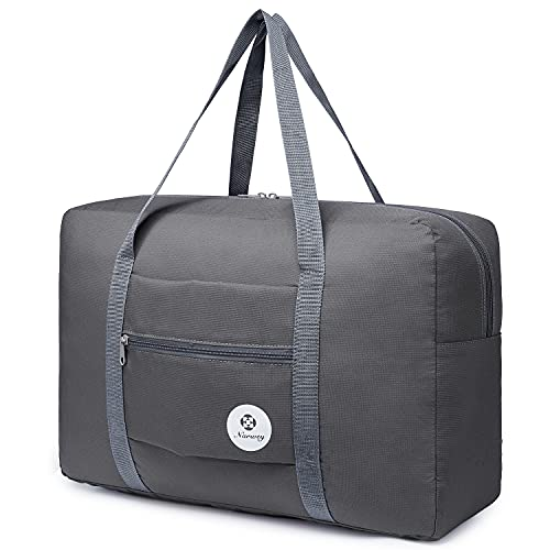 For Spirit Airlines Foldable Travel Duffel Bag Tote Carry on Luggage Sport Duffle Weekender Overnight for Women and Girls (1112 Grey)