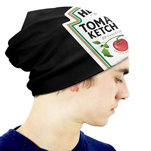EVEKENNEDY Heinz Tomato Ketchup Autumn and Winter Retro Stretchy Hedging Cap Skull Hats for Boys Girls Hip Hop Beanie Caps Gift Outdoor Activity Black