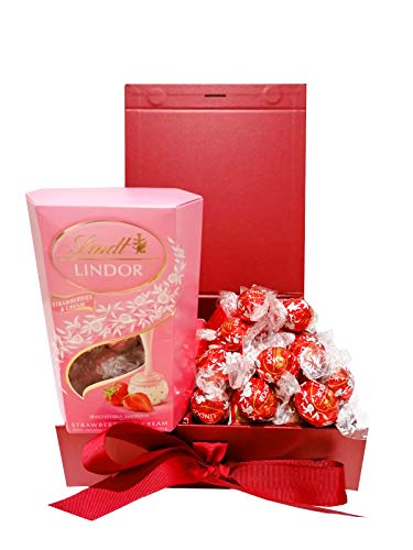 Auris 400g Pink Lindt Lindor Red Chocolate Hamper Gift Box-for All Occasions with: Milk Chocolate Truffles 200g and 1Pack of Strawberry and Cream Truffles 200g