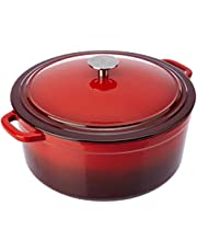 Amazon Brand - Solimo Cast Iron Dutch Oven With Lid (30Cm, 7.7L, Red Enamel)