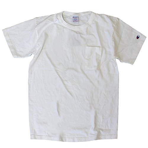 [チャンピオン] Tシャツ 綿100% ドライ感 ワンポイントロゴ ポケットTシャツ T1011 MADE IN USA C5-B303 メンズ ホワイト L