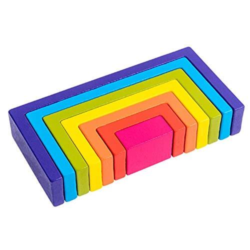 Prom-note Regenbogen Bausteine Lernen Lernspielzeug, Hölzerner Regenbogen Zum Lernen, Puzzle Spielzeug Geometrie Steine (Regenbogen)