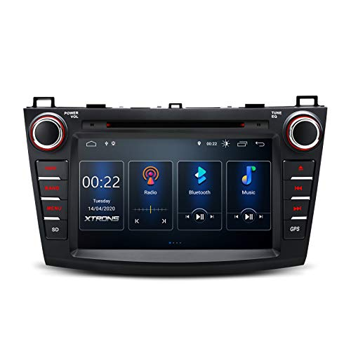 XTRONS Android 10 Car Stereo GPS Navigation for Mazda 3, Double Din DVD Car Stereo with Bluetooth 8 Inch Touch Screen Head Unit Built-in DSP Supports Android Auto Car Auto Play OBD2 DVR Backup Camera