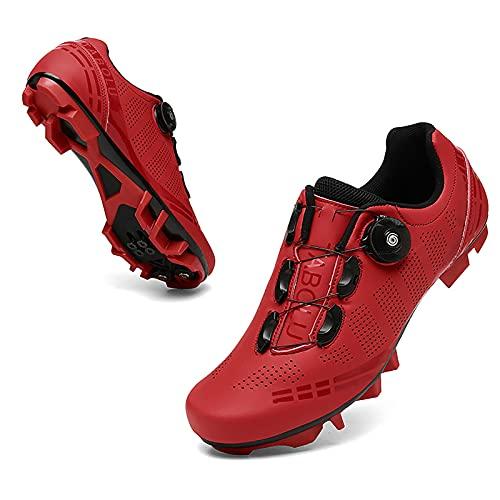 Shhyy Zapatillas de Ciclismo para Hombre/Mujer,Transpirable Bloqueo para Bicicleta de Carretera y montaña Antideslizantes Zapatilas de Pelotón Compatibles con SPD,Rojo,46