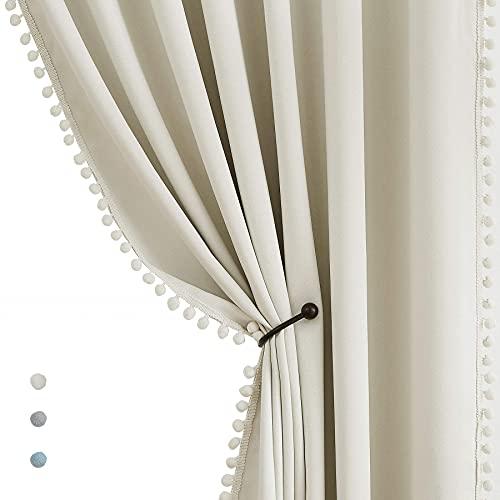 "Treatmentex Pom Pom Blackout Curtains Ivory Curtains for Nursery Room Darkening Curtain Drapes 54"" Short Window Curtain Set for Living Room Bedroom 2 Panels"