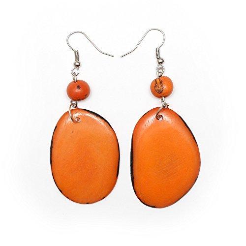 Idin Tagua oorbellen – oranje Tagua schijfjes en acai-bessen (ca. 7,5 cm.