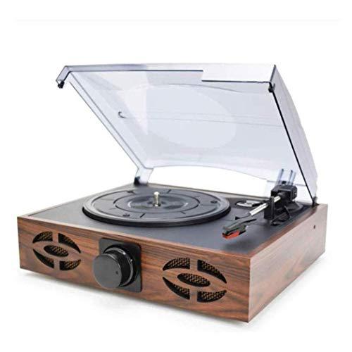 ZSMLB Hi-Fi Audio para hogar Fonógrafo Retro para hogar Reproductor Discos Vinilo LP Moderno Altavoces, Bluetooth, Entrada línea Tarjeta USB TF, Radio FM para Auriculares