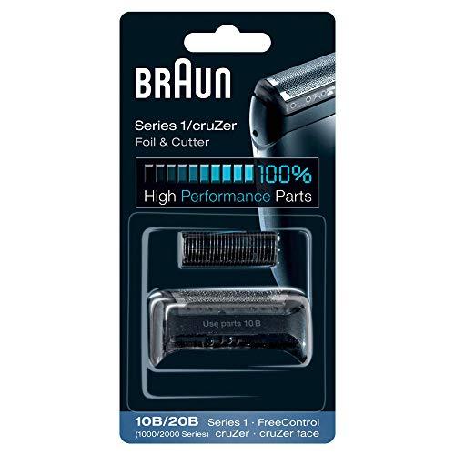 Braun 10B/20B Pack de Recambio para Afeitadora Eléctrica Hombre Series 1/Freecontrol/CruZer con Láminas de Recambio y Portacuchillas, Negro