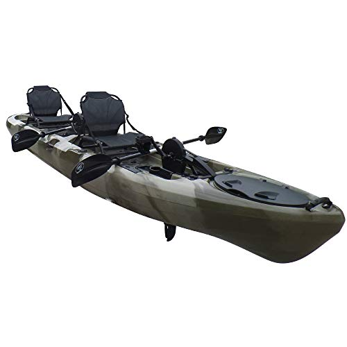 BKC PK14 Angler 14' Tandem Sit-On-Top Fishing Kayak, Propeller-Driven w/Instant Reverse Dual Pedal Drive, Rudder System, Paddles, and Upright Aluminum Frame Backrest Support Seats