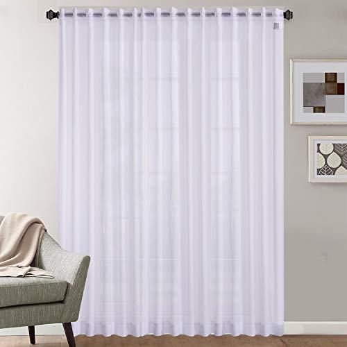 Megachest PURE voile Extra WIDE Sheer Plain Voile Curtain Window Panel 7 Drops EXTRA LONG 1 PANEL (cotton voile-snow white, 295X280CM DROP ONE PANEL)