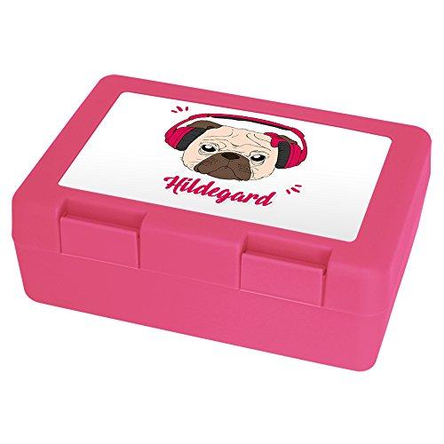 Brotdose mit Namen Hildegard und schönem Motiv - Mops mit Kopfhörer und Schleife für Mädchen | Brotbox rosa - Vesperdose - Vesperbox - Brotzeitdose mit Vornamen