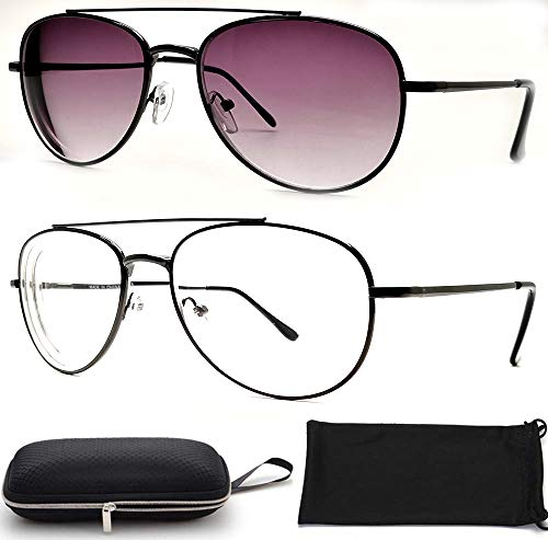 Nearsighted Shortsighted Myopia Distance Driving Glasses Men Women (2PACK) Sunglasses + Free Hard Case Storage