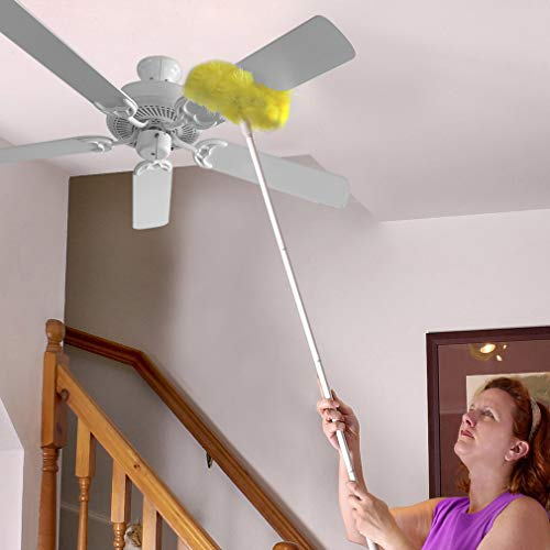 Evelots Ceiling Fan Duster-Both Sides-Static Microfiber Brush-Up To 9 Feet Reach