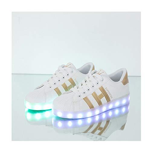 WXBYDX 7 Farbe USB Aufladen LED Leuchtend Sport Schuheschuhe Mit Licht Turnschuhe für Unisex-Erwachsene Herren DamenWhite ~ Gold-44