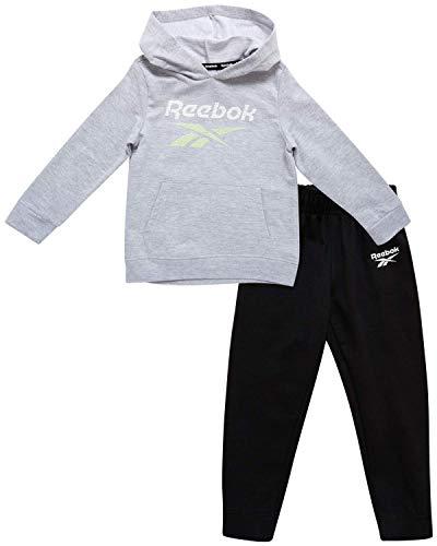 Reebok Baby Boy?s Tracksuit ? Athletic Fleece Sweatshirt and Jogger Sweatpants Playsuit Set (Infant/Toddler), Size 3T, Light Heather Grey/Black