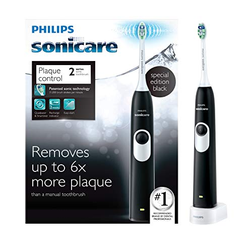 Philips Sonicare 2 Series plaque control rechargeable electric toothbrush, Black, HX6211