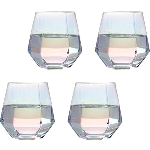 LQIQI Copas De Vino Colores Juego De Accesorios De Vino Blanco Cristal Vaso De Cristal Hexágono De Diamante Vaso De Whisky De Vino Parejas Tazas Regalos 300ml Juego De 4 Piezas