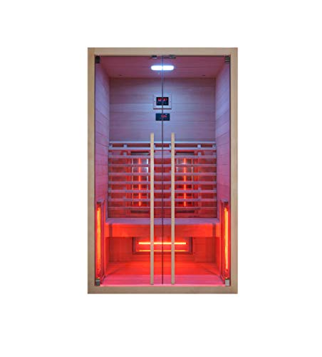 Infrarotkabine 120 x 100 x 195 cm für 2 Personen aus Hemlock Holz | Infrarotkabine mit ergonomischer Rückenlehne | Infrarotsauna mit Farblichttherapie | Wärmekabine mit 2 Zonensteuerung