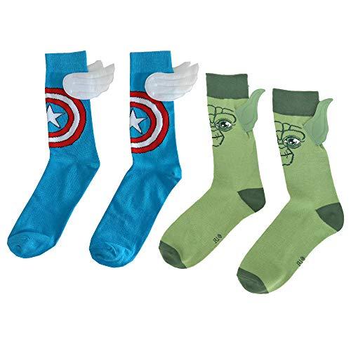 JasmyGirls Superheld Charakter Socken Comics Socken mit Flügeln Captain Anime Socken Schild & Star Crew Socken Lustige Socken Cosplay Kostüm (Blau & Grün)