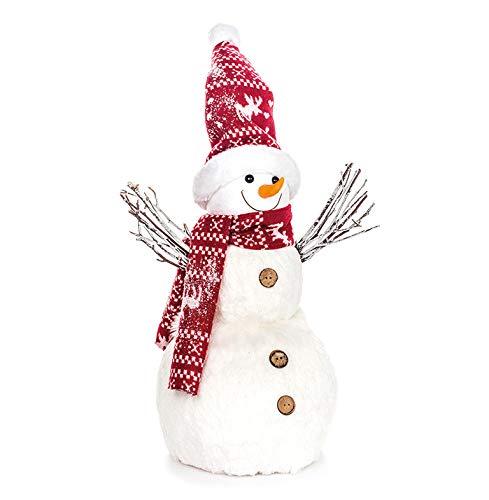 EUROCINSA sneeuwpop wit met muts en rode sjaal 36 x 52 cm 2 stuks, polyester, eenheidsmaat.
