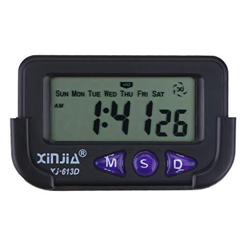 Wakauto Alarma de Reloj Digital para Coche Segundo cronógrafo Reloj electrónico Alarma de cabecera con Pantalla LCD para Viajes de Pared de Dormitorio (Negro)