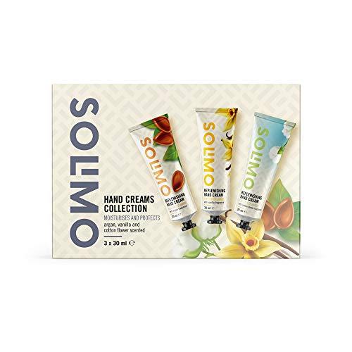 Marca Amazon -Solimo - Colección de cremas de manos con función hidratante y protectora, aroma de argán, vainilla y flor de algodón (3 x 30 ml)