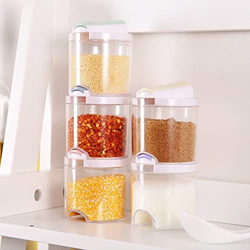 Alivier - Set di 5 barattoli per condimenti, impilabili, a tenuta stagna, senza BPA, con coperchio single 7.5 * 7cm, total height 31.5cm 5 pezzi