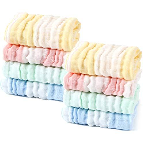 LIUNIAN 10 PACKS Baby Musselin Waschlappen extra weiches 100/% Baumwolle atmungsaktives Neugeborenes Baby-Gesichtstuch f/ür empfindliche Haut nat/ürliche Baby-T/ücher 12x12