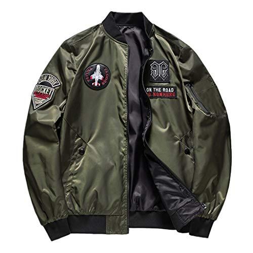 Ode_Joy Uomini può Essere Indossato su Entrambi i Lati Giacca da Pilota Uomo Due Indossa Giacca Giubbotto Bomber Sottile Giacche Classico Retro Vintage Manica Lunga Outwear (Verde Militare,M)