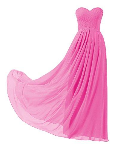 HUINI Ballkleider Trägerlos Schulterfrei Chiffon Lang Brautjungfernkleid Abendkleider mit Schnürung Falten Promkleid Partykleid Hochzeit...