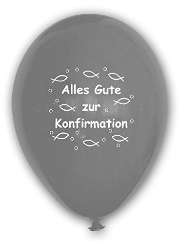 Unbekannt 10 Luftballons Alles Gute zur Konfirmation, Silber, ca. 30 cm Durchmesser