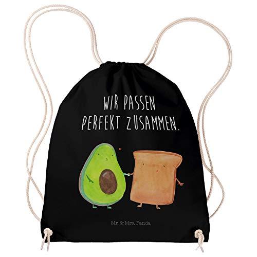 Mr. & Mrs. Panda Jutebeutel, Gymsack, Sportbeutel Avocado + Toast mit Spruch - Farbe Schwarz