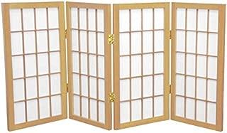 Oriental Furniture 2 ft. Tall Desktop Window Pane Shoji Screen - Natural - 4 Panels