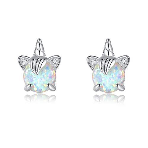 TIZU Orecchini Unicorno Opale in Argento 925 Orecchini Anallergici per Donna Bambina Regalo Ragazza Anni