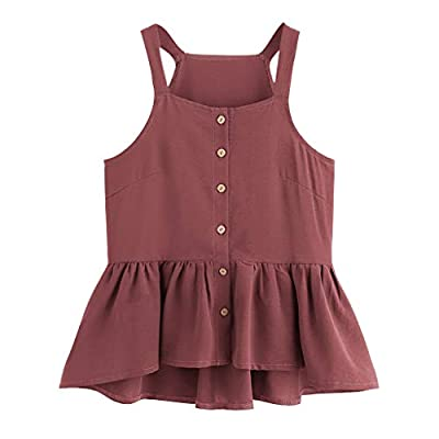 RAINED-Women's Crop Tank Tops Sleeveless Solid Color Shirts Swing Ruffle Hem Top Sexy Button Front Cold Shoulder Tanks