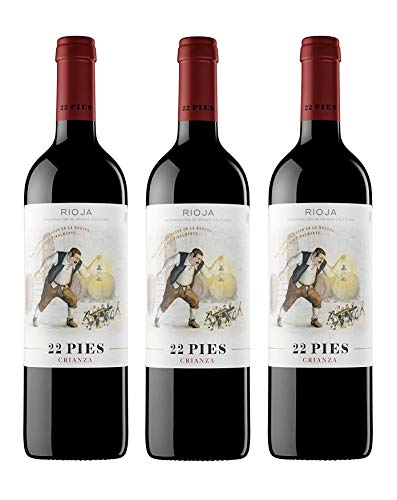 22 Pies, Vino Tinto - 3 botellas de 750 ml, Total: 2250 ml