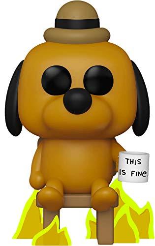 Figura de vinilo de Funko Pop! con diseño de un perro con taza con texto «This is fine», exclusiva de Entertainment Earth