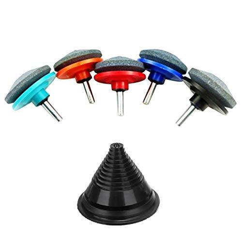 MAGFUN Afilador de CortacéSped Universal Multi-Afilado de Capa Giratoria de 6 Piezas para Taladro EléCtrico Taladro Manual y Equilibrador de Cuchillas de CortacéSped