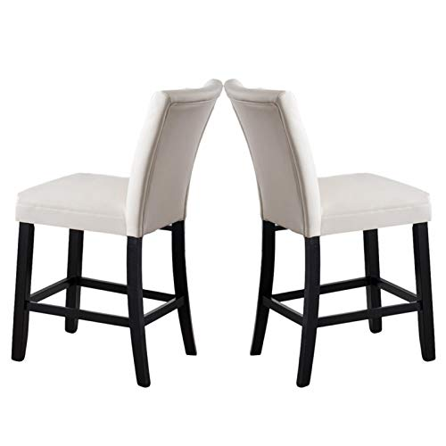 mickyshoes Dining Chairs with Solid Wood Legs and PU Cushion Armless Chairs for Kitchen Living Room Hotel Weeding Lounge Reception, Set of 2, White