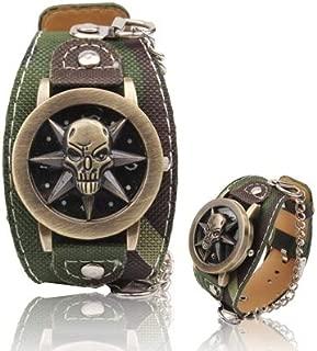Fashion Watches Skull Head Wristwatch PU Leather Strap Quartz Watch for Boys Man Gentleman