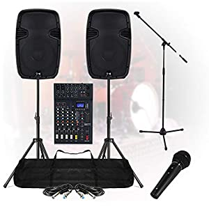 Studiomaster Complete Band Live Stage PA Sound System 800W 6Ch Mixer Speakers DJ Party